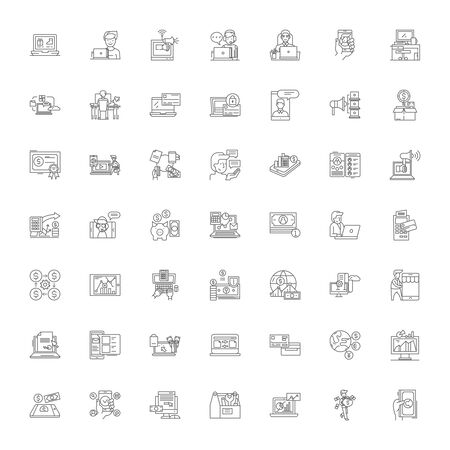 Financial services line icons, signs, symbols vector, linear illustration set