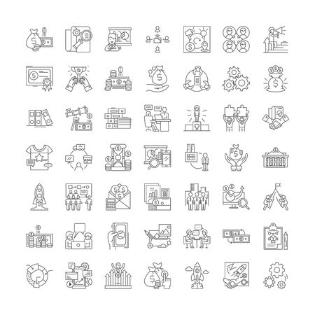 Franchising line icons, signs, symbols vector, linear illustration set