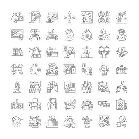 Franchising-Liniensymbole, Zeichen, Symbolvektor, linearer Illustrationssatz