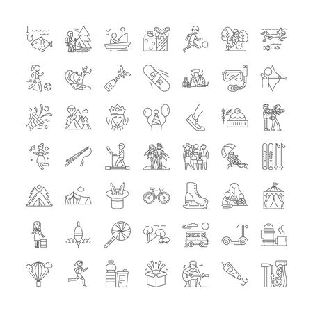 Free time and recreation line icons, signs, symbols vector, linear illustration set Stok Fotoğraf - 134821096