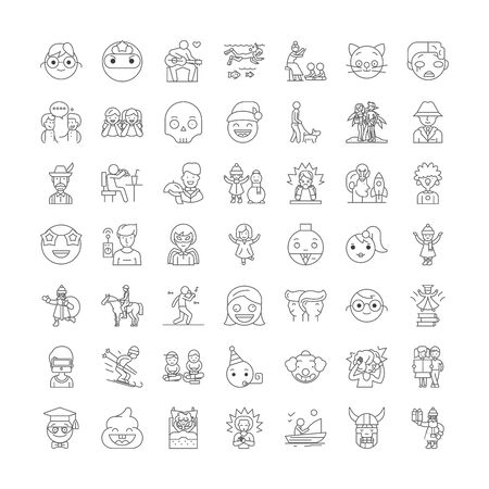 Cute people line icons, signs, symbols vector, linear illustration set