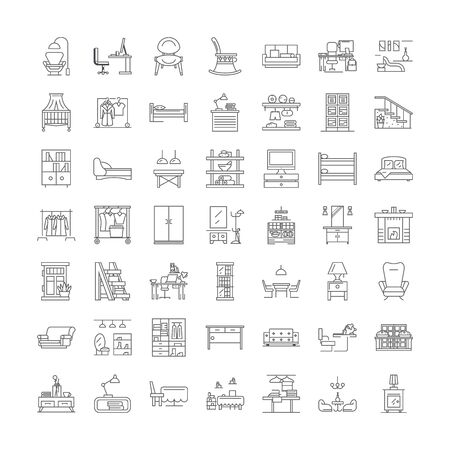 Room furniture line icons, signs, symbols vector, linear illustration set Illustration