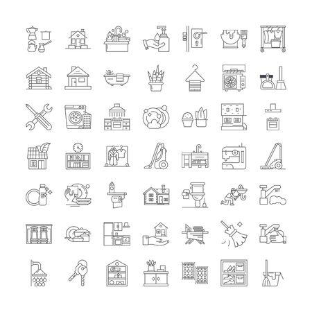 Household life line icons, signs, symbols vector, linear illustration set Ilustração