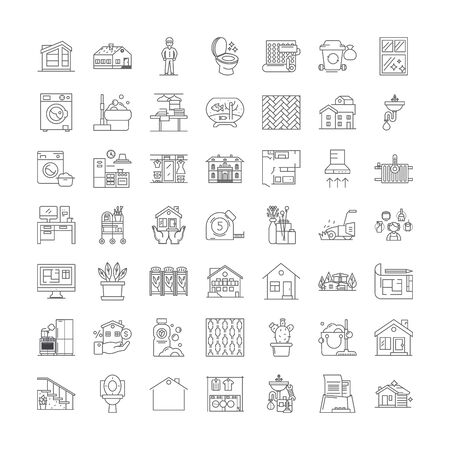 Household work line icons, signs, symbols vector, linear illustration set