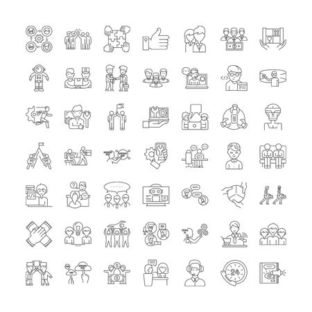Human resources department line icons, signs, symbols vector, linear illustration set
