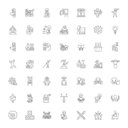 Creativity and idea generation line icons, signs, symbols vector, linear illustration set