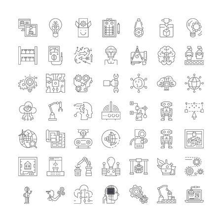 Future technologies line icons, signs, symbols vector, linear illustration set