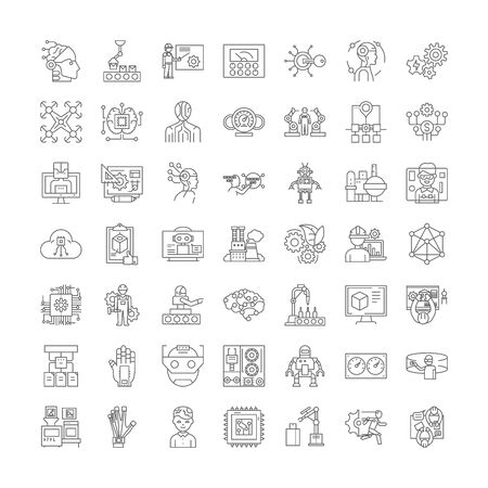 Future industry line icons, signs, symbols vector, linear illustration set