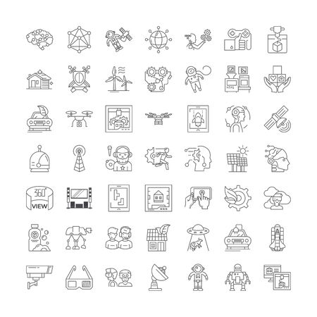 Future trends line icons, signs, symbols vector, linear illustration set