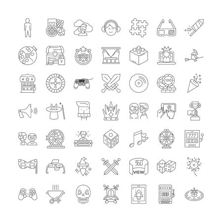 Games and toys line icons, signs, symbols vector, linear illustration set 向量圖像