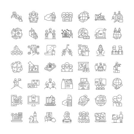 Global company line icons, signs, symbols vector, linear illustration set