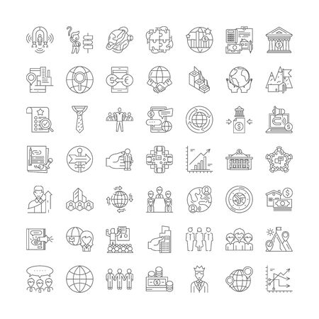 Globalization proccess line icons, signs, symbols vector, linear illustration set
