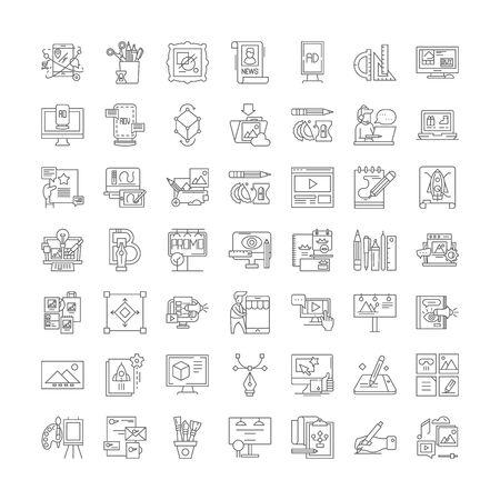 Graphic design line icons, signs, symbols vector, linear illustration set