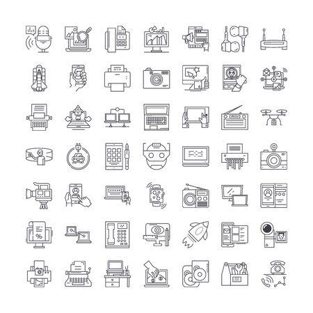 Hardware line icons, signs, symbols vector, linear illustration set