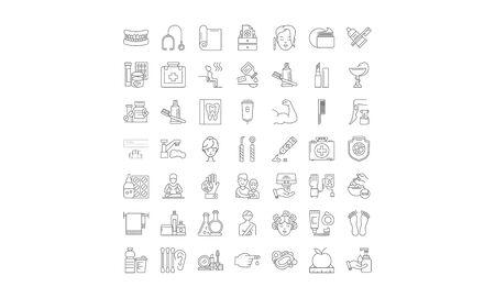 Icônes de ligne de soins de santé et de thérapie, signes, vecteur de symboles, ensemble d'illustrations linéaires Vecteurs