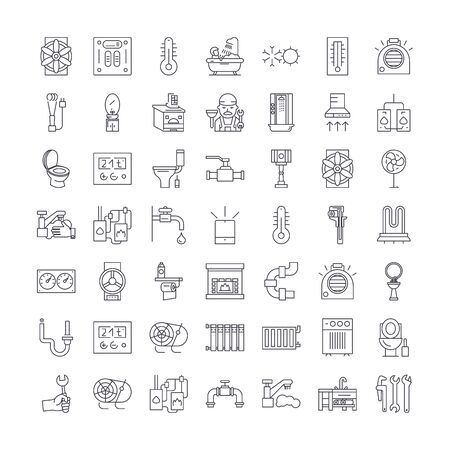 Heating,plumbing,ventilation line icons, signs, symbols vector, linear illustration set
