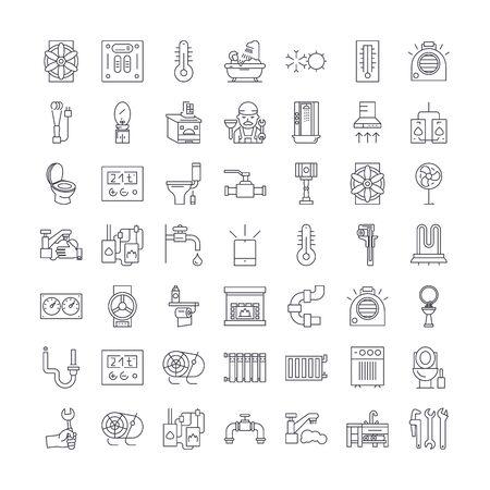 Verwarming, sanitair, ventilatie lijn pictogrammen, tekens, symbolen vector, lineaire afbeelding set Vector Illustratie