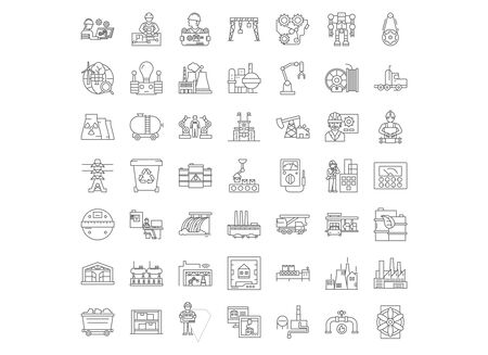 Heavy industry market line icons, signs, symbols vector, linear illustration set