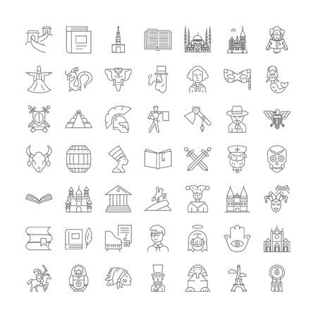 History class line icons, signs, symbols vector, linear illustration set Stockfoto - 134754372