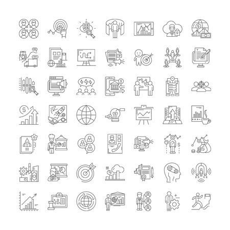 Hitech business line icons, signs, symbols vector, linear illustration set Ilustrace