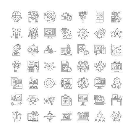 Hitech business company line icons, signs, symbols vector, linear illustration set