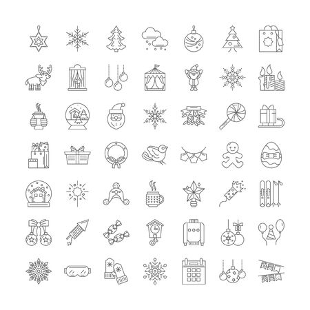Holidays line icons, signs, symbols vector, linear illustration set