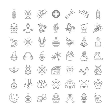 Holidays and vacation line icons, signs, symbols vector, linear illustration set