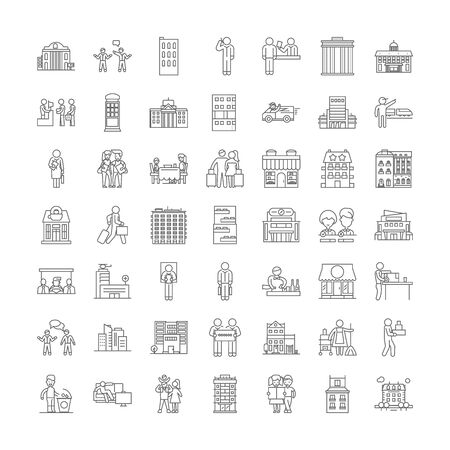 Hotel line icons, signs, symbols vector, linear illustration set