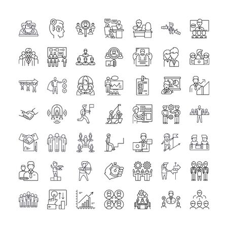 Human resources line icons, signs, symbols vector, linear illustration set