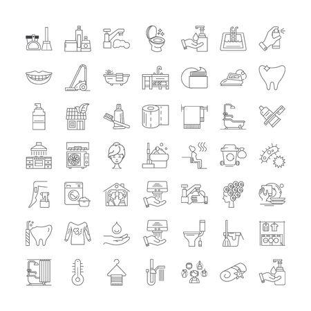Icônes de ligne d'assainissement, signes, vecteur de symboles, ensemble d'illustrations linéaires