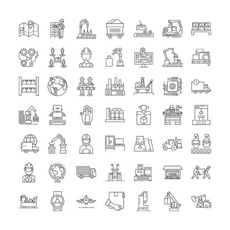 Industry automation line icons, signs, symbols vector, linear illustration set Иллюстрация