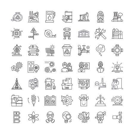 Industrial line line icons, signs, symbols vector, linear illustration set