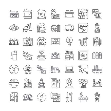 Industrial degin line icons, signs, symbols vector, linear illustration set