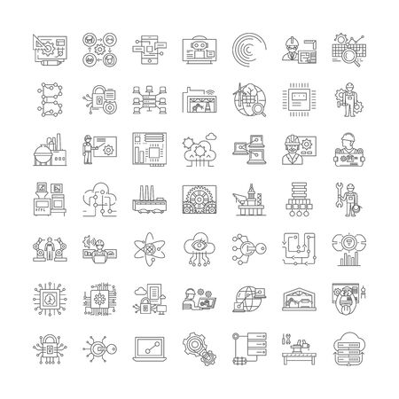 Infrastructure development line icons, signs, symbols vector, linear illustration set Çizim