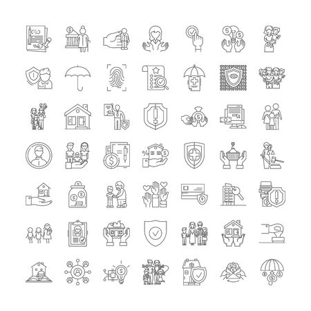 Insuarance policy line icons, signs, symbols vector, linear illustration set