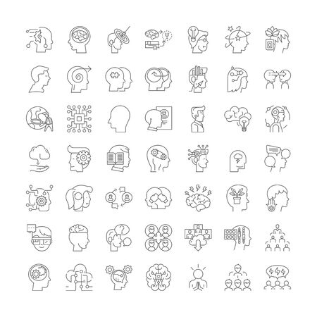 Intellectual property line icons, signs, symbols vector, linear illustration set