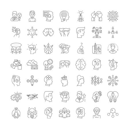 intellectual property rights line icons, signs, symbols vector, linear illustration set Vectores