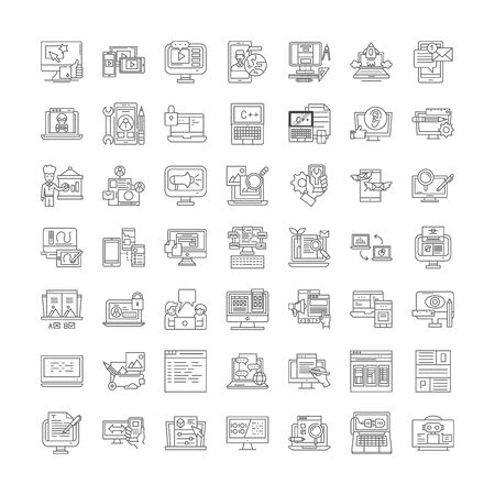 Interface design line icons, signs, symbols vector, linear illustration set