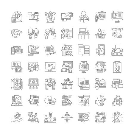 Learning business line icons, signs, symbols vector, linear illustration set Stock Illustratie