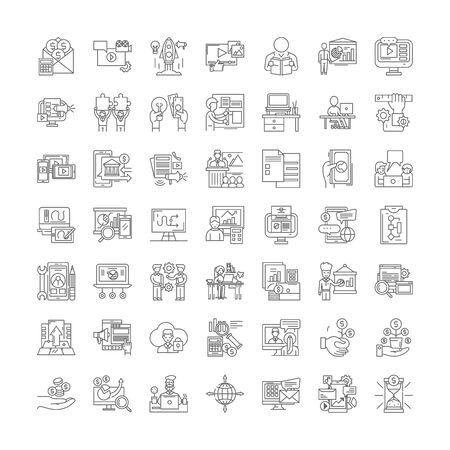 Lernen von Business-Line-Symbolen, Zeichen, Symbolvektor, linearem Illustrationssatz