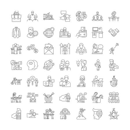 Job searching line icons, signs, symbols vector, linear illustration set