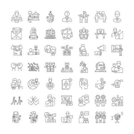 Job hunting line icons, signs, symbols vector, linear illustration set