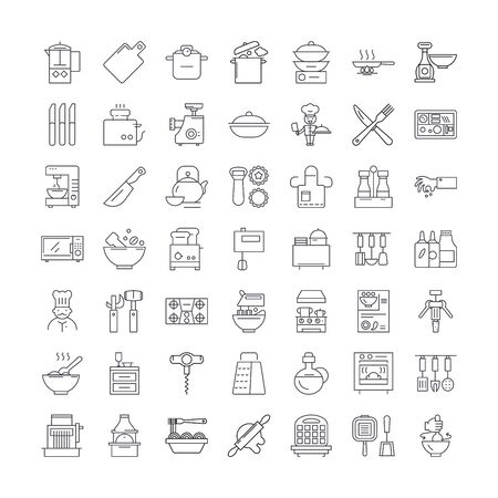 Kitchen line icons, signs, symbols vector, linear illustration set