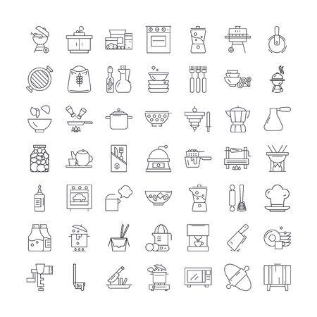 Kitchen interior line icons, signs, symbols vector, linear illustration set