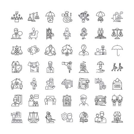 Law firm line icons, signs, symbols vector, linear illustration set