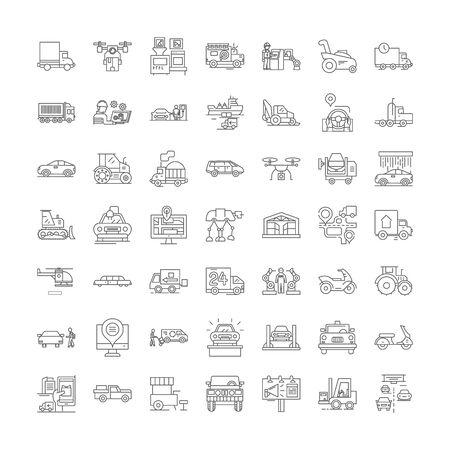 Machines line icons, signs, symbols vector, linear illustration set
