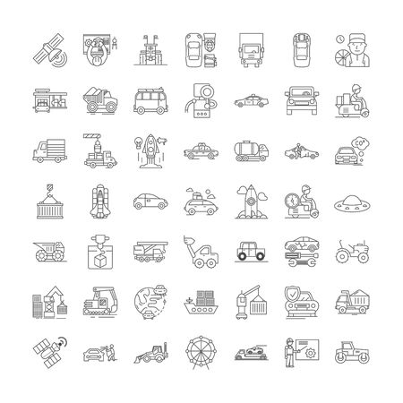 Machines and vehicles line icons, signs, symbols vector, linear illustration set