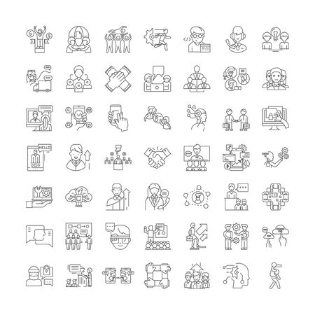 Maintenance line icons, signs, symbols vector, linear illustration set Иллюстрация
