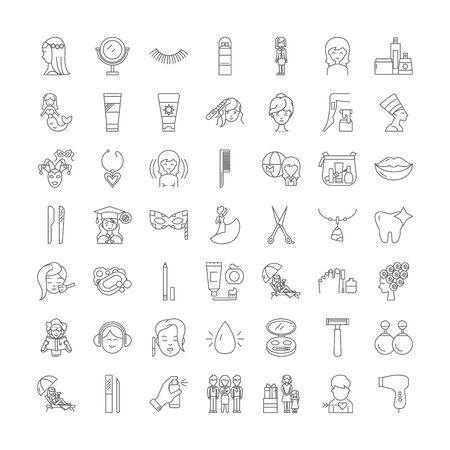 Makeup line icons, signs, symbols vector, linear illustration set