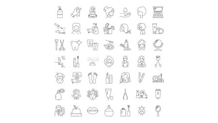 Makeup products line icons, signs, symbols vector, linear illustration set